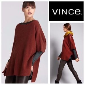 Vince ribbed cashmere blend poncho sweater zipper